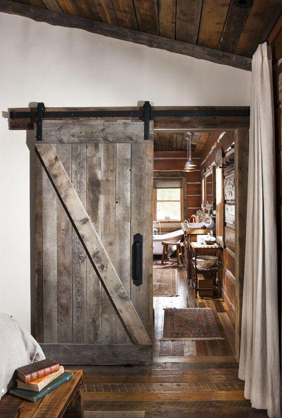 puerta granero para cabaña